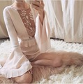 For love lemons women jumpsuits playsuits deep V-neck ruffle lace embroidery cutout flare sleeve one piece shorts