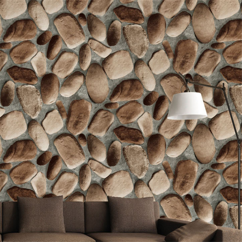 beibehang 3D stereo simulation cobbled wallpaper back to nature natural wind culture stone Chinese restaurant wallpaper