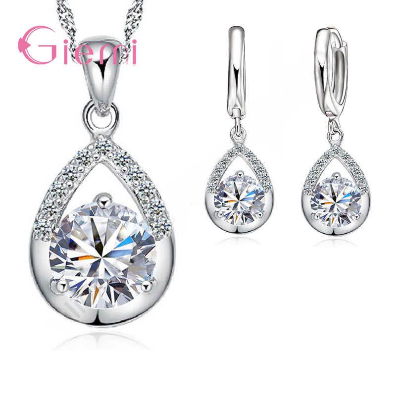 925 Sterling Silver Perhiasan Pengantin Set Kalung Anting-Anting untuk Wanita Pertunangan Romantis Gaya Air Drop Bentuk Kristal Austria