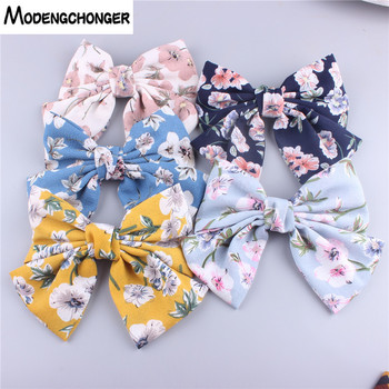 High Quality Hair Bow Large For Girls Hairgrips Bowknots Flower Printing Barrette Bow Hair Clip Women Hairpin Hair Accessories 1 set 2pcs 4 5 girls 2 color linen plaid hairgrips hairbow hair accessories with alligator clip handmade for children hair bow
