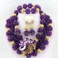 Púrpura Perlas Africanas Joyería Conjunto Bolas de Cristal Collar de la Joyería Africana Set Joyería Cristalina Del Envío Libre W6325