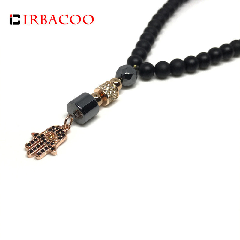 Irbacoo 2019 Luxury Men Women Cz Hamsa Hand Pendant