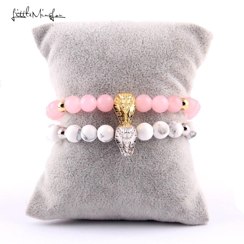 WML New Arrival CZ pharaoh Charm Bracelets women pink stone bead Mummies bracelets Bangles for women Jewelry in Charm Bracelets from Jewelry Accessories