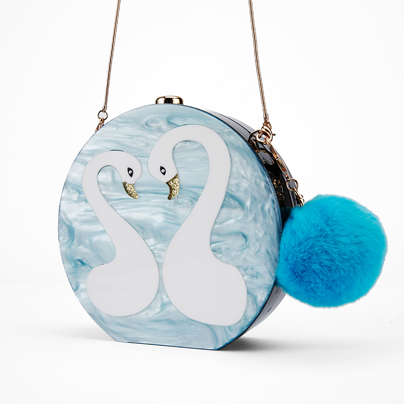 Demi lune de luxe forme gravure cygne Transparent femmes dames de mariage fête cristal clair designer soirée embrayages sac acrylique