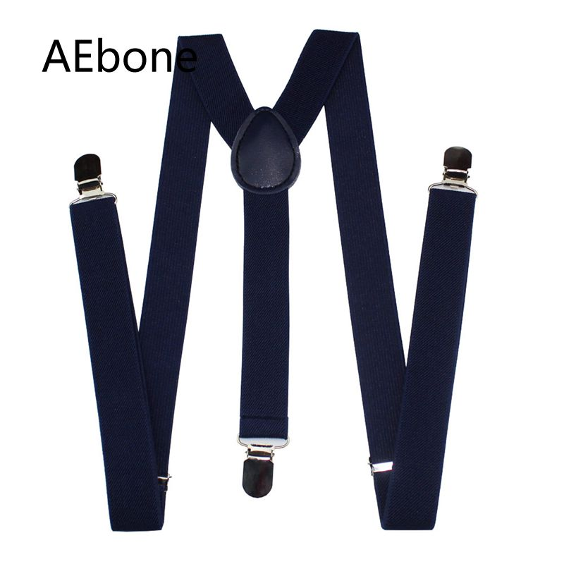 AEbone Plain Navy Suspenders Male For Pants Wide 2.5*100cm Braces Unisex Strap Bretels Women Mens Braces For Trousers Sus61