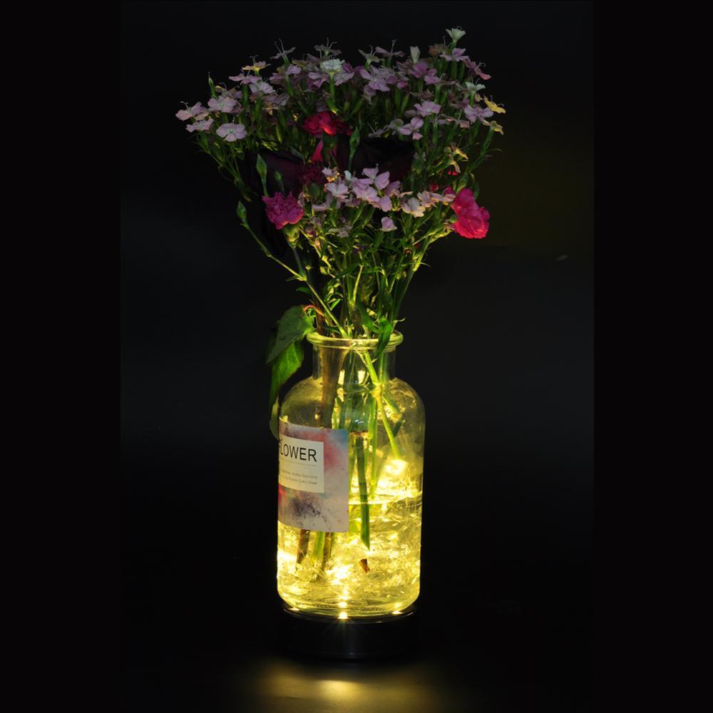 10cm Round LED Light Base For Under Vase Centerpeices Candelabra Crystal Decoration