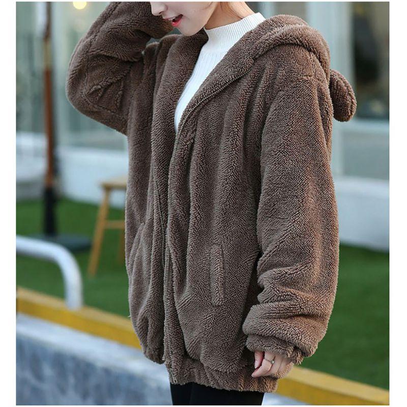 Новый Теплая верхняя одежда для девушек пальто зимнее Для женщин Толстовки молнии свободные пушистый медведь уха с капюшоном куртка с капю... ...