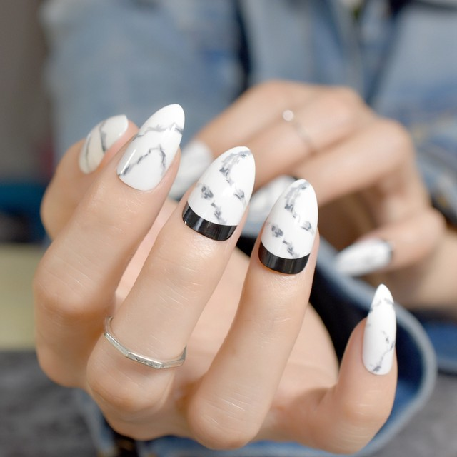 Fine Acrylic Nails Pointed Ornament - Nail Paint Design Ideas ...