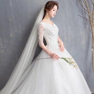Image 3 - EZKUNTZA 2019 ใหม่ V เซ็กซี่ V คอต่อท้ายแต่งงานชุดดอกไม้หวานเจ้าหญิงสีขาว Lace Up Slim ชุดแต่งงาน Casamento L