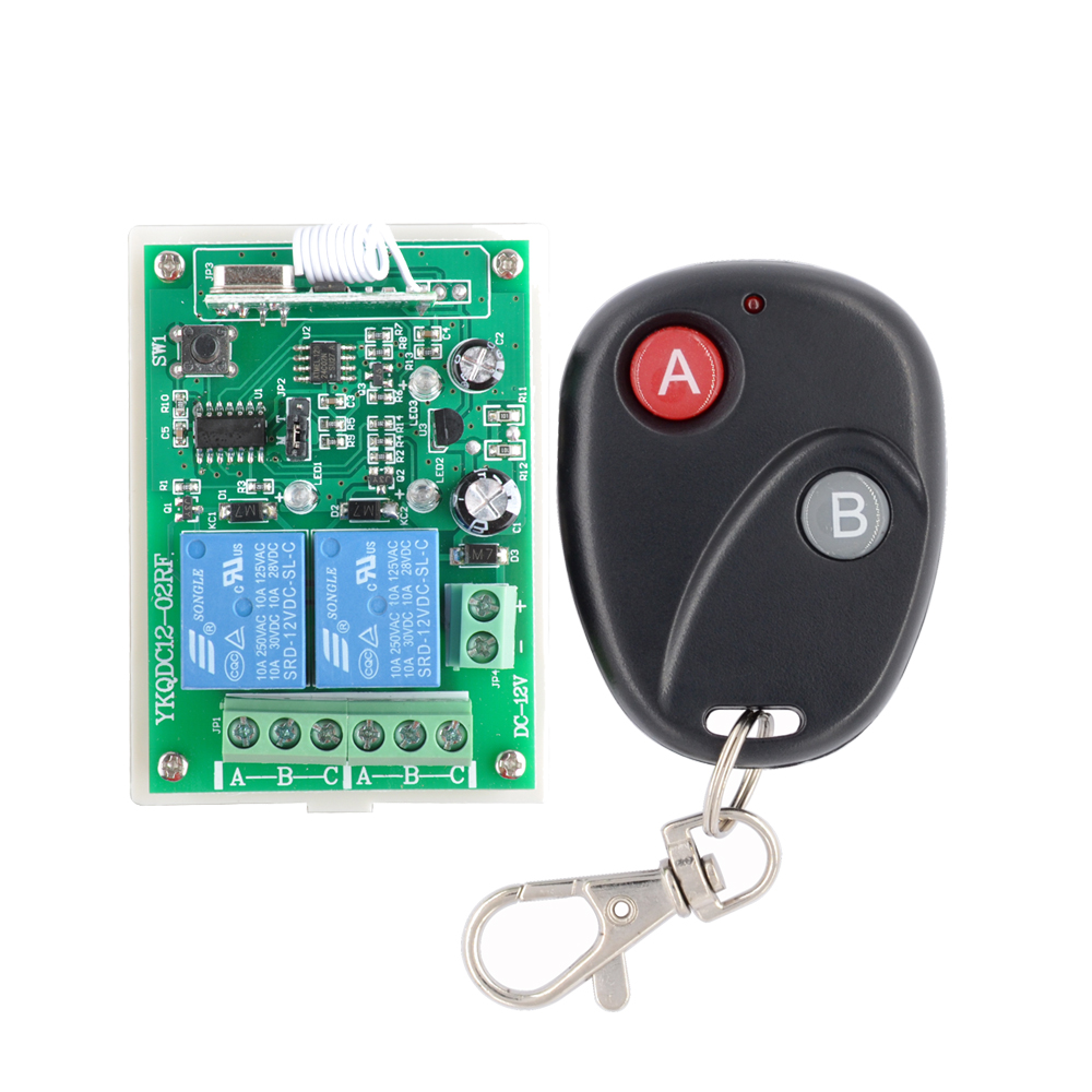 12V 2CH wireless remote control switch Receiver&Transmitter ON OFF Switch Learning code Toggle Momentary Latched 315/433MHZ remote control switches dc 12v 2ch receiver long range remote control transmitter 50 1000m 315 433 rx tx 2ch relay learning code