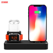 3 In 1 Charging Dock Station Holder for Iphone X XR XS Max 6 6S 7 Silicone Charger Stand for Apple Watch Iwatch 4 3 2 1 Airpods(China)