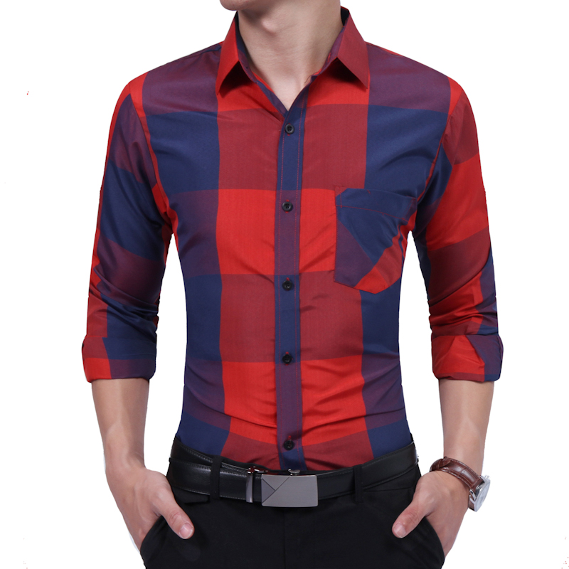 Brand 2018 Fashion Male Shirt Long-Sleeves Tops Large Grid Oversize British Business Mens Dress Shirts Slim Men Shirt 3XL