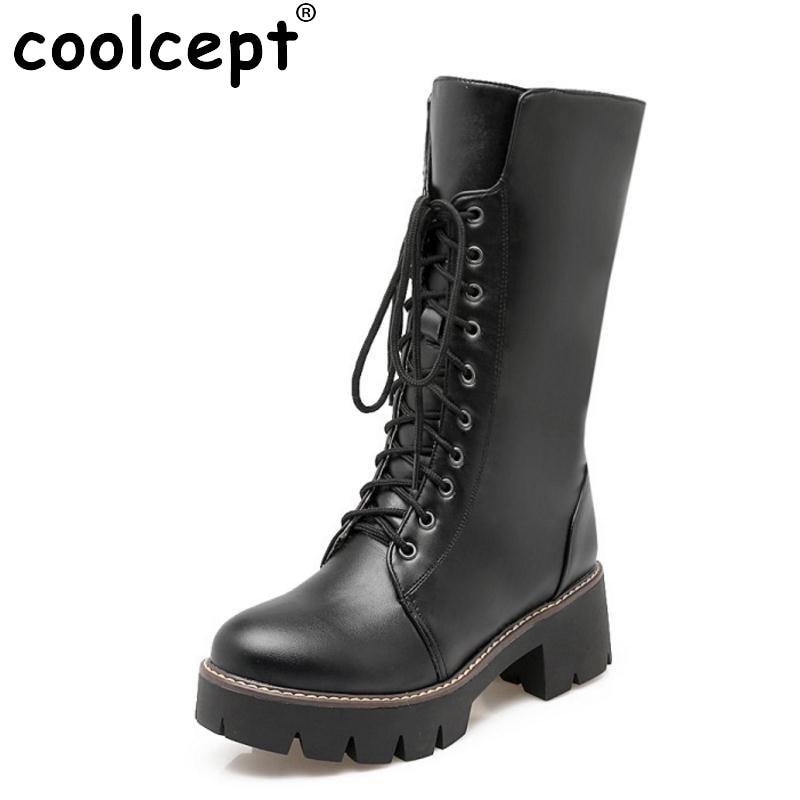 ФОТО Women Winter Boots Fashion Woman Round Toe Platform Knee Boots Ladies Winter Warm Thick Fur Martin Boot Woman Shoes Size 34-43