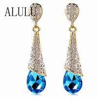 Fashion Brand Alloy 18K Gold Plated Statement Austria Blue Crystal Long font b Earrings b font