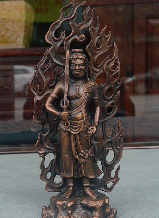 "12"" Japan folk Buddhism Bronze Fudo Myoo Fudo Myo-o Acalanatha Fudosan Statue"