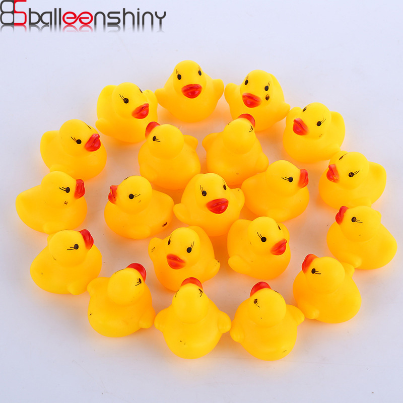 BalleenShiny 10Pieces/set Cute Duck Soft Rubber Float Squeeze Sound Dabbling Toys Baby Wash Bath Play Animals Toys Bath Toy cute baby rattle bath toy squeeze animal rubber toy duck bb bathing water toy race squeaky yellow duck classic toys reborn gift