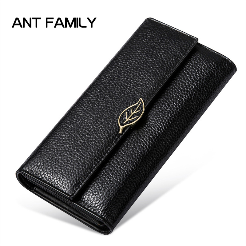 Large Capacity Genuine Leather Women Wallets Long 3 Fold Purse 2018 Fashion Female Clutch Ladies Real Leather rfid Wallet Black ladies genuine leather wallet women fashion patent leather wallets coin purse female large capacity clutch 3 fold cowhide wallet