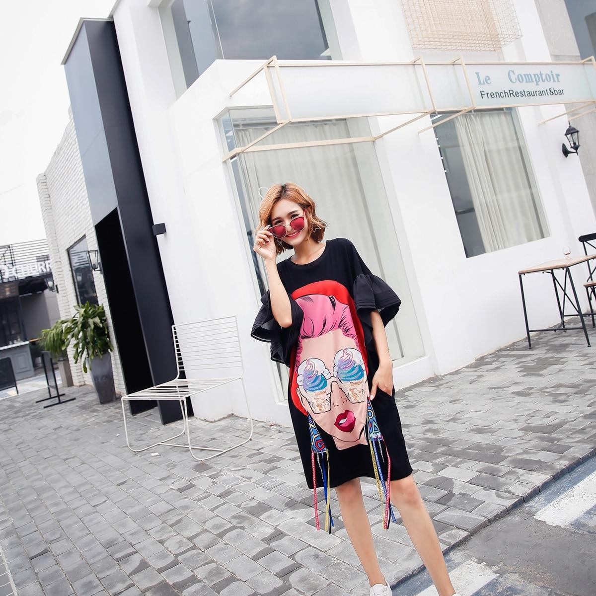 Vefadisa tシャツドレス白黒 夏の女性の漫画スパンコールドレス印刷非対称ドレスゆるいカジュアルなタッセル不規則な 送料無料