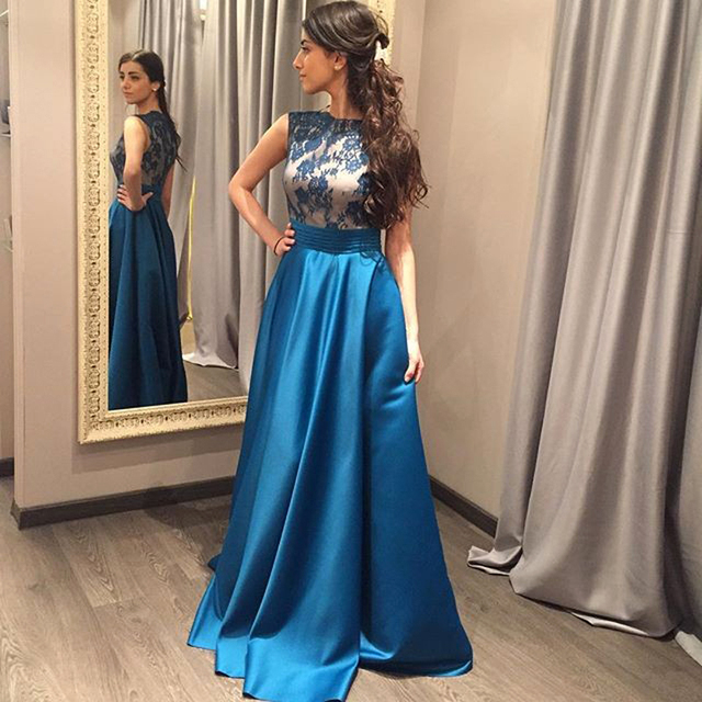 Formal Long Evening Dresses New Arrival Lace Satin Blue Simple Prom Dresses  Party Gowns robe de soiree fc5578ed46a2