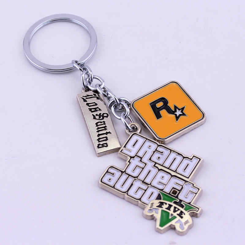 Hot Sale Game PS4 GTA V Grand keychain Theft Auto 5 KeyChain Xbox PC Rockstar Keyring For Men Boys Gift Jewelry Llavero For Fans