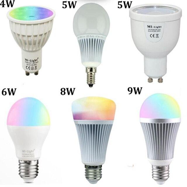 Ми свет Dimmable GU10 E27 E14 Светодиодная лампа 4 Вт, 5 Вт, 6 Вт, 9 Вт, MiLight 2,4G беспроводные светильники 85-265 V RGBW/RGBWW CCT лампа с диммером
