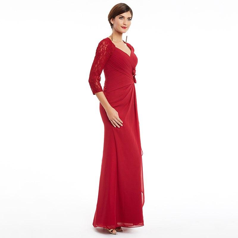 Tanpell tre fjärdärmsmycken kvällsklänning v nacke burgundy - Särskilda tillfällen klänningar - Foto 2