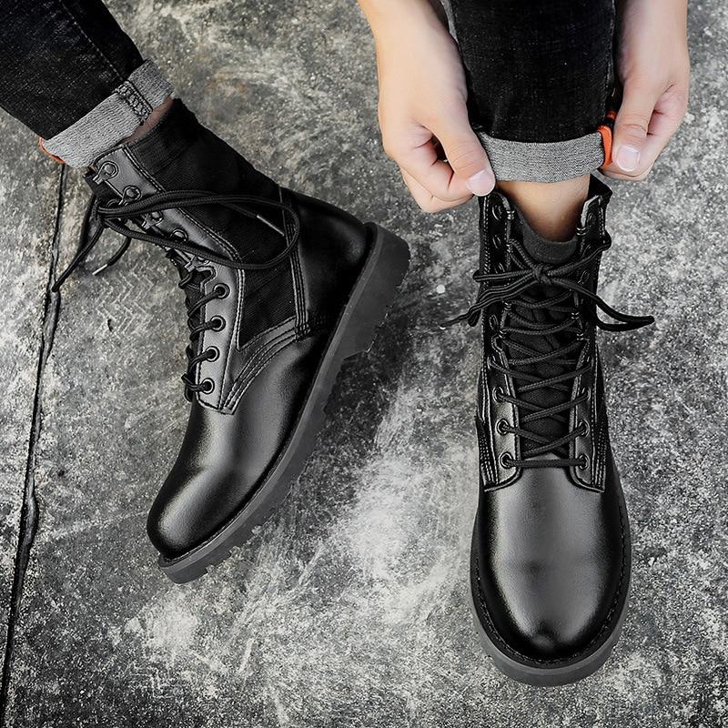 2018 Botas black Bottes Mode Qualité Pour Militaire Reetene Cheville Hombre Hommes En Haute Imperméable De Cuir Désert Desert OxqdgtTgw7