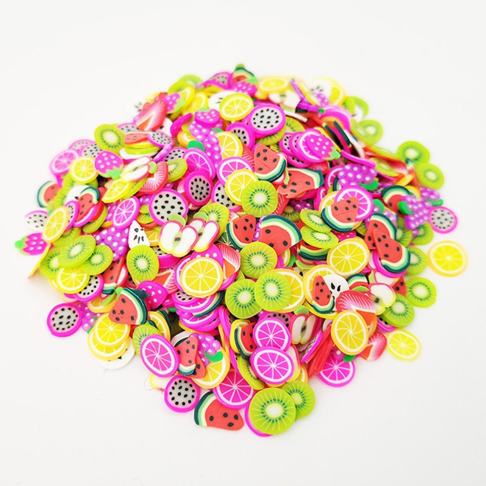 1000pcs/Set Assorted Slime Slices DIY Crafts Decorations Fruit Slices Slime Making Supplies for Soft Clay