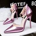 Mulheres moda primavera e outono bombas de salto alto festa e clube noite sapatos feminino casual feminino lazer fivela bombas de cinta