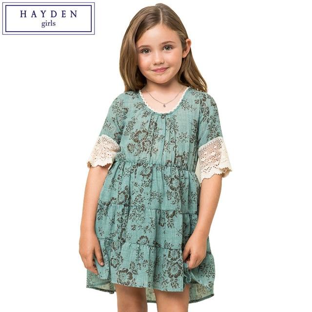 HAYDEN Girls Vintage Floral Dress Children Half Sleeve Dresses Juniors Brand Clothes Teenage Clothing For