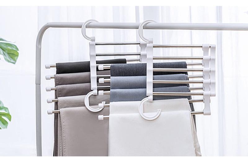 Stainless steel Magic Pants Rack Multi function wardrobe scarves tie  Storage Finishing Shelf Multi layer fold Stretch pants Rack|Storage Holders  & Racks| - AliExpress