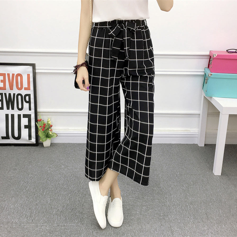 Summer Women Striped   Wide     Leg     Pants   High Waist Drawstring Casual Striped   Pants   Suit Loose Plaid Solid Elasticated Trousers 2019