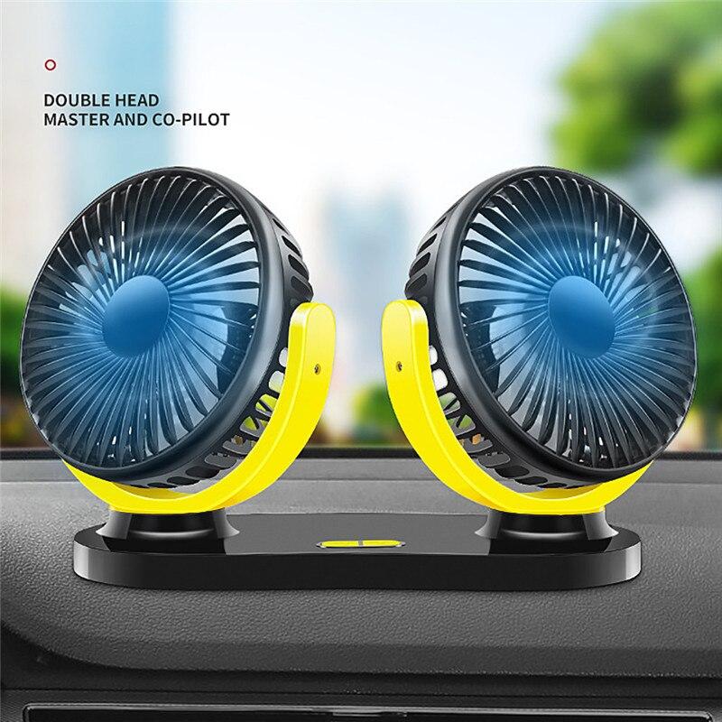 Universal 12V Dual Head Car Cooling Oscillating Dashboard Ventilation Air Fan