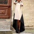 2017 estilo europeu da primavera moda feminina gola alta hem irregular patchwork dress mulheres vestidos longos maxi vestidos plus size