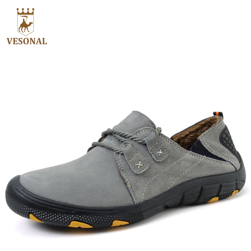 VESONAL Genuine Leather Autumn Winter Warm Fur Male Shoes For Men Sneakers Casual Brand Quality Fashion Walking Footwear Man купить
