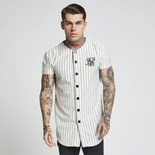 Fashion Summer 2018 2019 Men Streetwear Hip Hop T shirts Sik Silk Embroidered Baseball Jersey Striped Shirt Men Brand Clothing