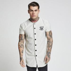 Image 1 - Fashion Summer 2018 2019 Men Streetwear Hip Hop T shirts Sik Silk Embroidered Baseball Jersey Striped Shirt Men Brand Clothing