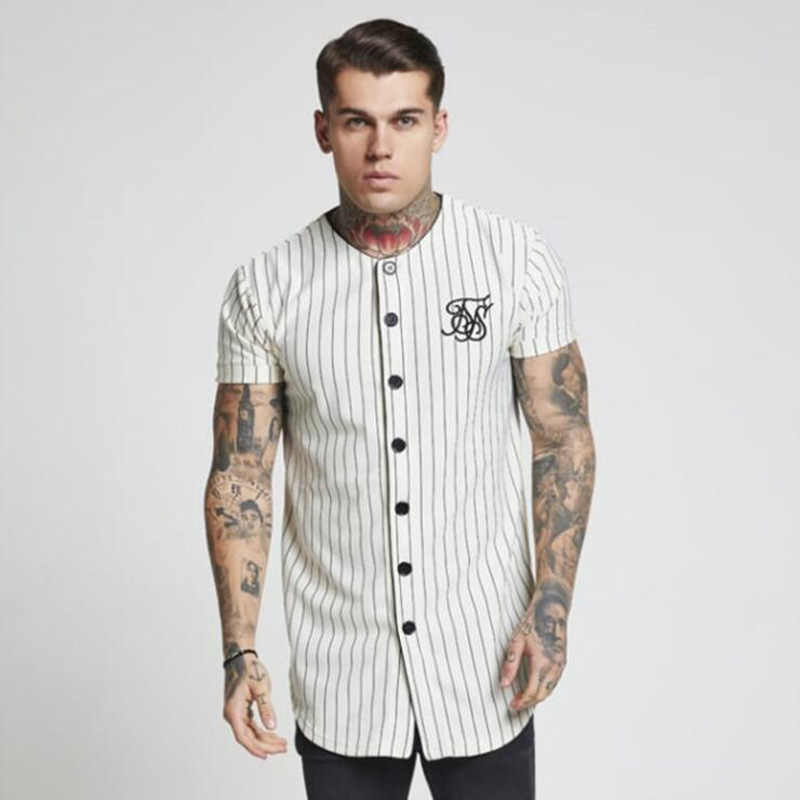 Moda verão 2018-2019 homens streetwear hip hop t-shirts sik seda bordado camisa de beisebol listrado camisa masculina roupas de marca