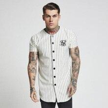 Mode Zomer 2018 2019 Mannen Streetwear Hip Hop T shirts Sik Zijde Geborduurde Baseball Jersey Gestreepte Shirt Mannen Merk Kleding