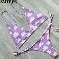 ZMTREE 2017 Newest Bikini Floral Printed Bikinis Set Sexy Bandage Swimwear Women Beach Bathing Suit Push