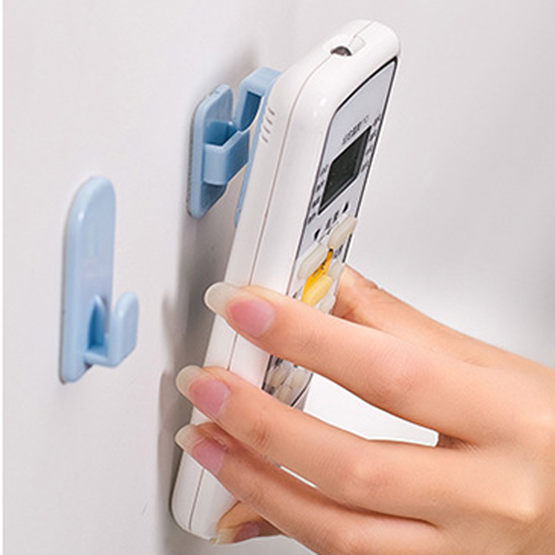 2Set(4Pcs) Self Adhesive Plastic Hooks Holder Remote Control Sticky Hook Hanger TV Air Conditioner Key Wall Storage