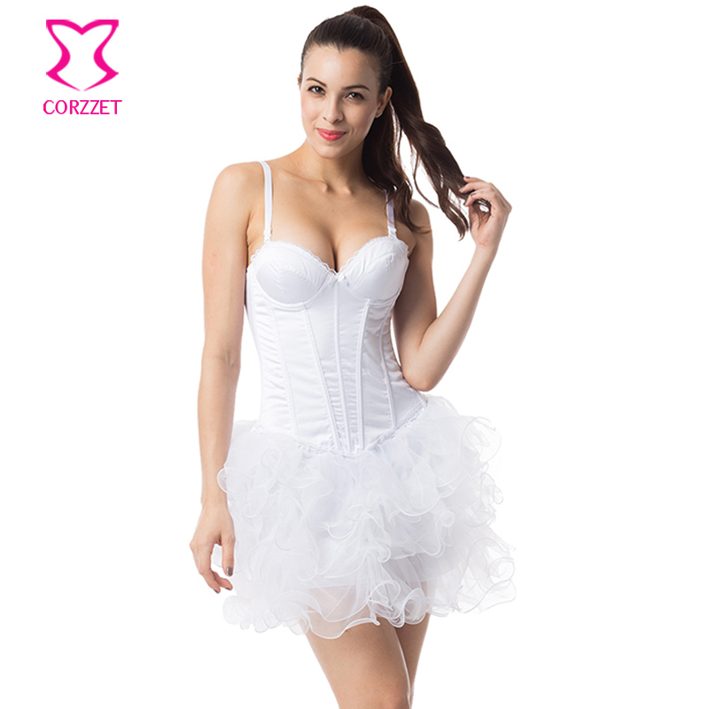 d1526664605 Online Shop White Cotton Strap Push Up Sexy Bridal Corsets And Bustiers  Wedding Victorian Corset Dress Gothic Clothing Dresses + Tutu Skirt