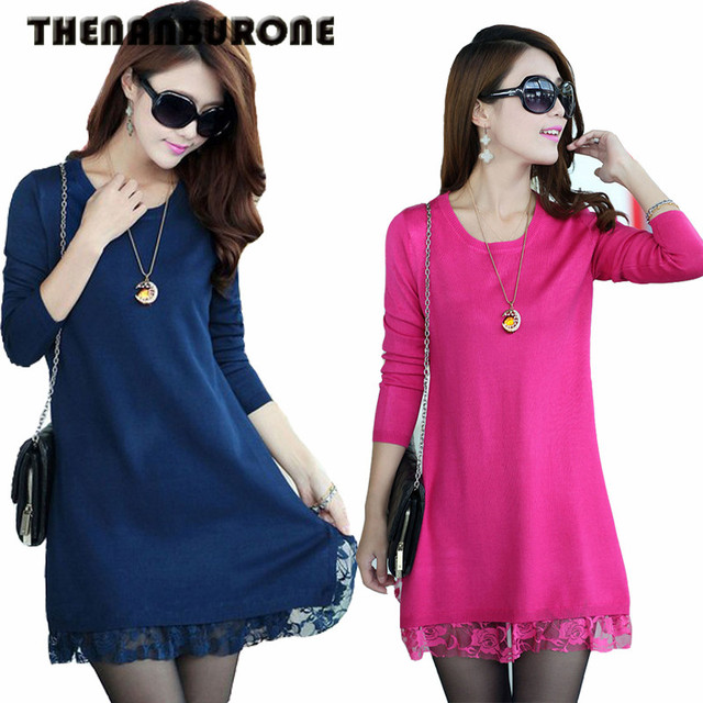 THENANBURONE Good Quality 2017 New Autumn Thick Dress Women Casual Slim Lace Dress Winter Long-Sleeved Plus Size XXXL Sweaters