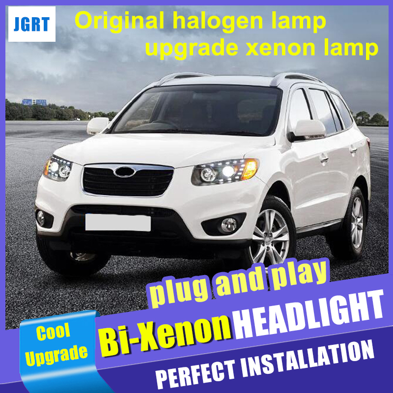 2007 2012 Car Styling For Hyundai Santa Fe Headlight assembly LED DRL Head Lamps Hid kit