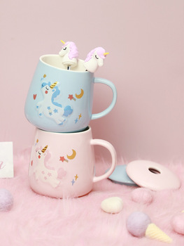 Unicorn Mermaid Coffee Mug with Lid 3D Spoon Ceramic Water Tea Cup Gift for Women Girls Pink