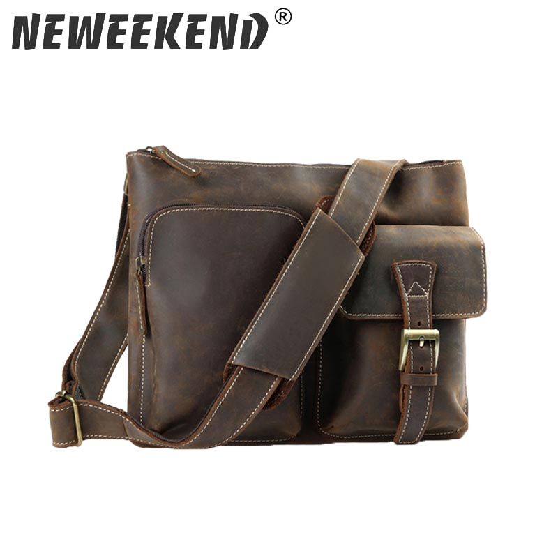 Genuine Leather Men Shoulder Bag Handbag Vintage Cowhide Crossbody Bag Tote Business Casual Men Messenger Bag famous brand vintage casual crazy cowhide leather messenger bag men satchel crossbody shoulder business briefcase bag w0960