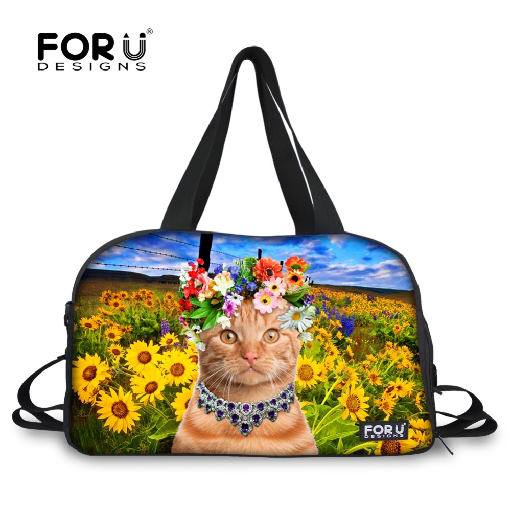 Cute 3D Cat Travel Duffle Bag Women Luggage Bag Zoo Animal Sunflower Print Teenager Large Capacity Duffle Shoulder Weekend Bags sunflower print crop tee