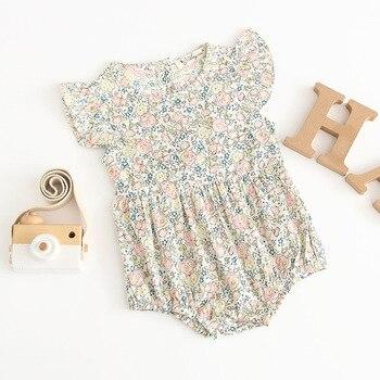 2019 קיץ תינוק ילדה פרח דפוסים כותנה קצר שרוולים תלבושות נסיכת כותנה Romper