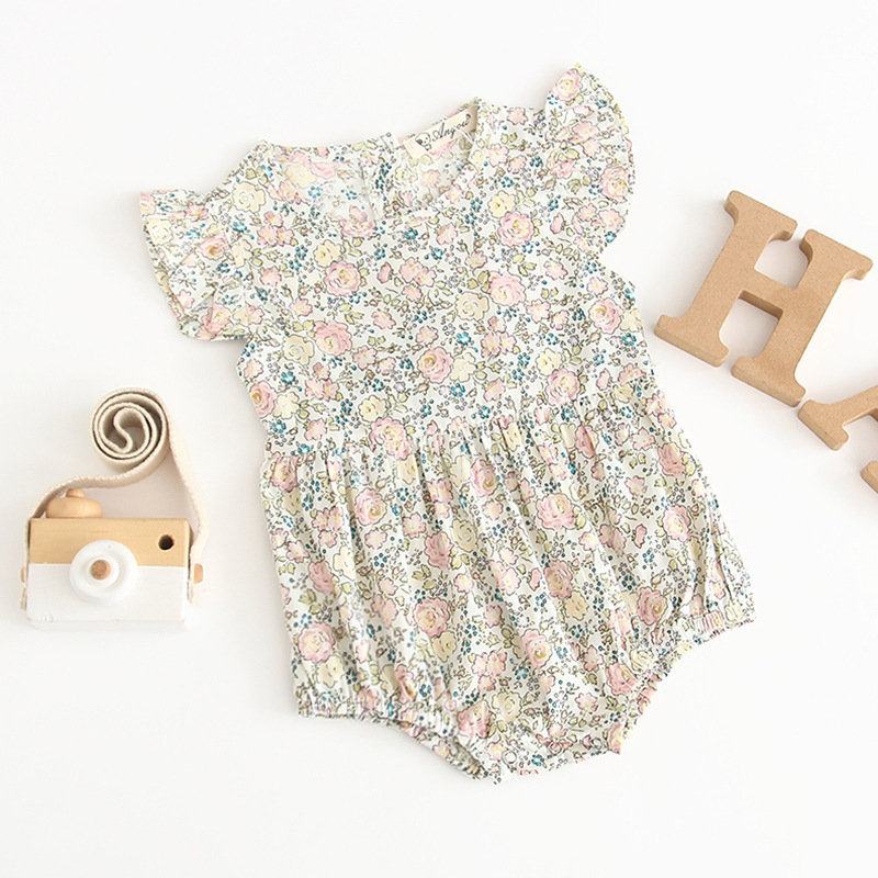 2019 Summer Baby Girl Flower Patterns Cotton Short-sleeved Outfits Princess Cotton   Romper