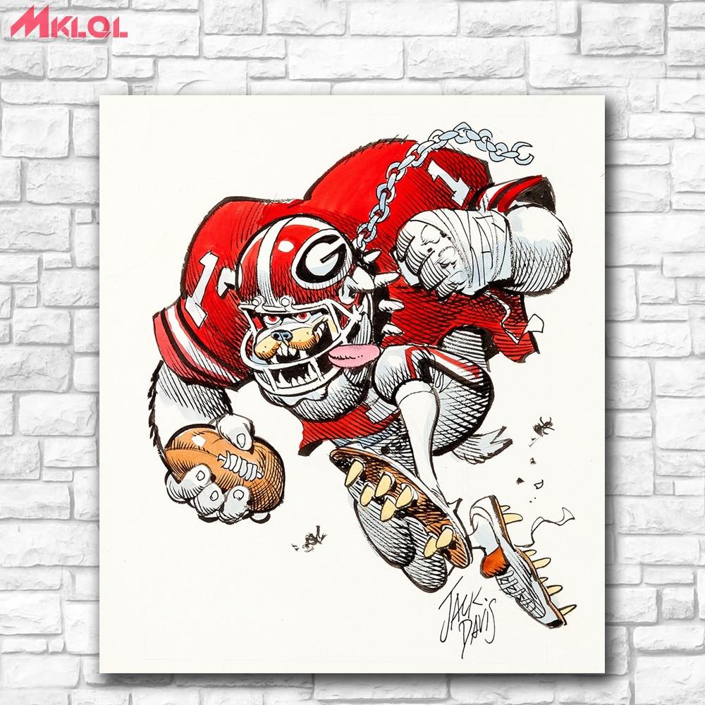 American Georgia Bulldogs College Football Illustration